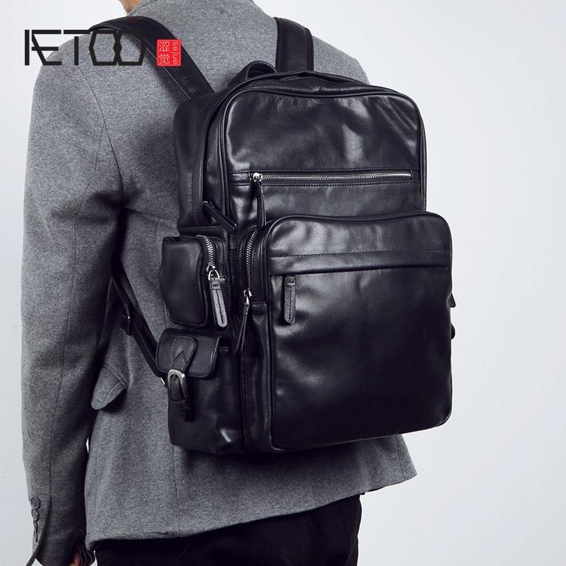 AETOO Men's leather shoulder bag full leather backpack fashion business cowhide computer bag Large capacity backpack