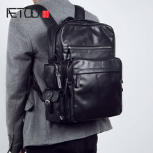 AETOO Mens leather shoulder bag full backpack fashion business cowhide computer Large capacity