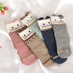 Модные носки с героями мультфильмов для женщин, милые кошки, животные, в полоску, теплые хлопковые повседневные мягкие удобные носки