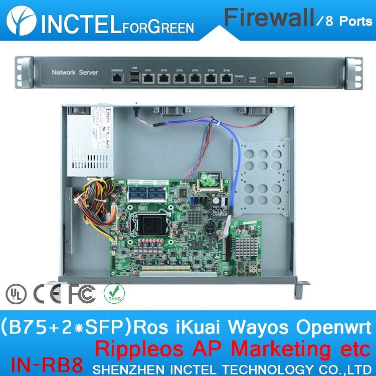 B75 LGA1155 CPU 2 Groups Bypass Firewall Server with Intel PCI E 1000M 6 82574L 2