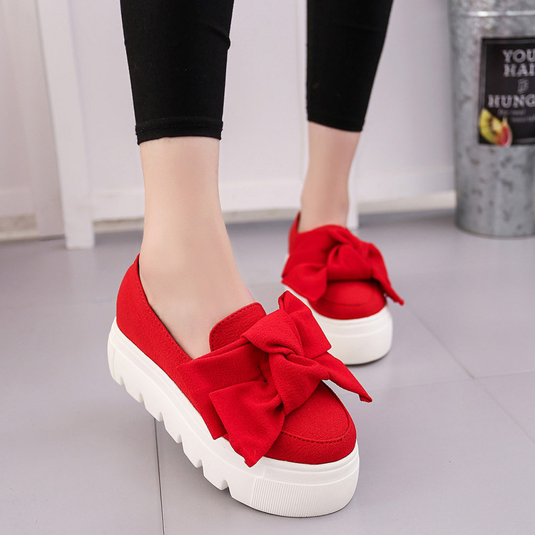 2017 autumn NEW women shoes bowtie muffin heavy-bottomed Platformquality Women Flats fashion loafers women casual Shoes 074 new women shoes fashion genuine leather spring autumn casual shoes lace up loafers shoes heavy bottomed platform white shoes