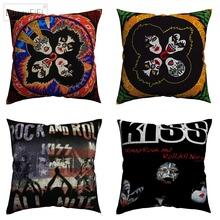 Kiss Rock And Roll Music Stars Decorative Cotton Linen Cushion Cover 45x45 cm For Sofa Chair Pillowcase Home Decor Almofada цены