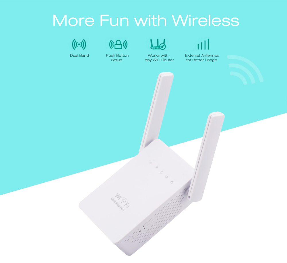 WiFi Router Dual Band Wireless Range Extender 2 Antenna Double ...