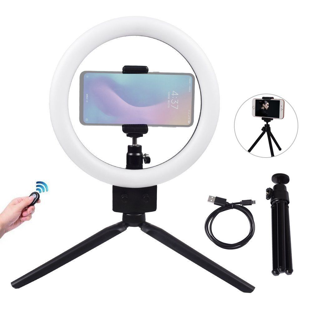9 inch Dimmable LED Selfie Ring Light 3200 5500K With Mini Tripod and Bluetooth Remote Kit fr Makeup Youtube Live Photo