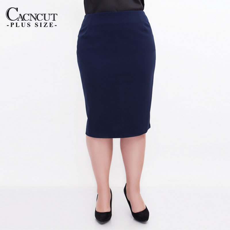 CACNCUT Big Size High Waist Bag Thigh Skirt Business Casual Skirt For Women 2019 Plus Size Bodycon Pencil Office Skirt Black 6XL 9