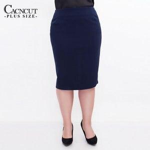 Image 2 - Cacncut tamanho grande cintura alta bolsa coxa saia negócios casual saia para as mulheres 2019 plus size bodycon lápis escritório saia preto 6xl