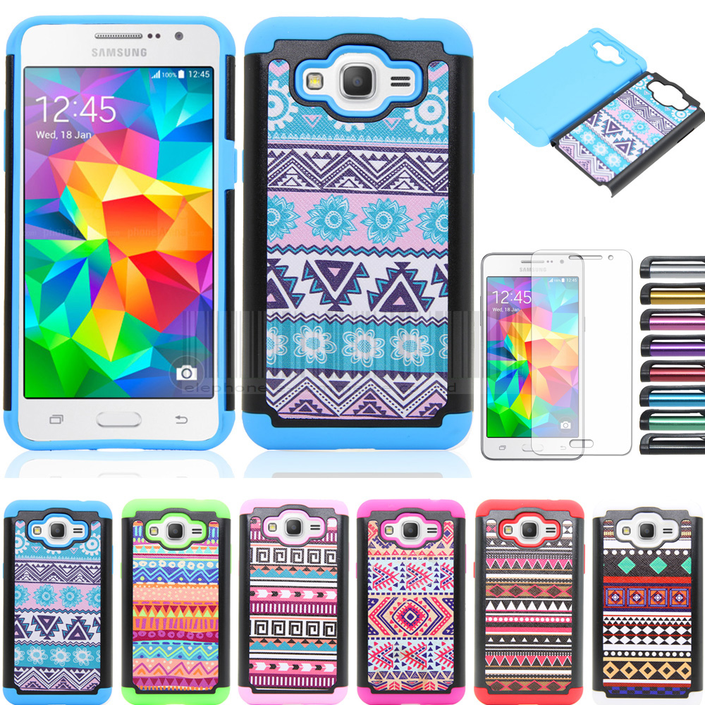 Phone Case For Samsung Galaxy J3 2016/Express Prime/Amp Prime Double Protective Tribal Totem Hybrid Armor Cover Films + Stylus