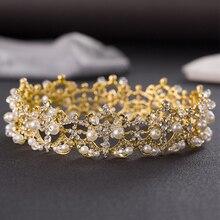 2016 New Gold Color Huge Rhinestone Crystal Bridal Baroque Headband Wedding Tiaras Hair Crown Hairwear Accessories