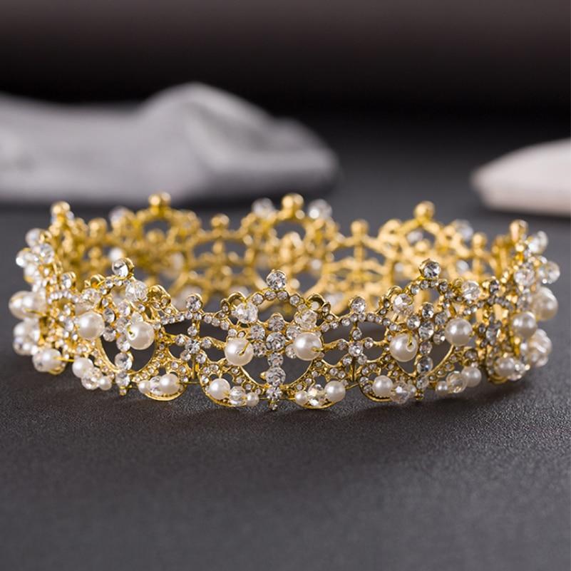 2016 New Gold Color Huge Rhinestone Crystal Bridal Baroque Headband font b Wedding b font Tiaras