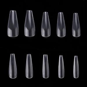 Image 4 - 100 Bags Long Coffin Ballerina Nails False Nail Art Tips Clear/Natural Full Cover Acrylic Nail Tips Wholesale Makartt Nail Tip