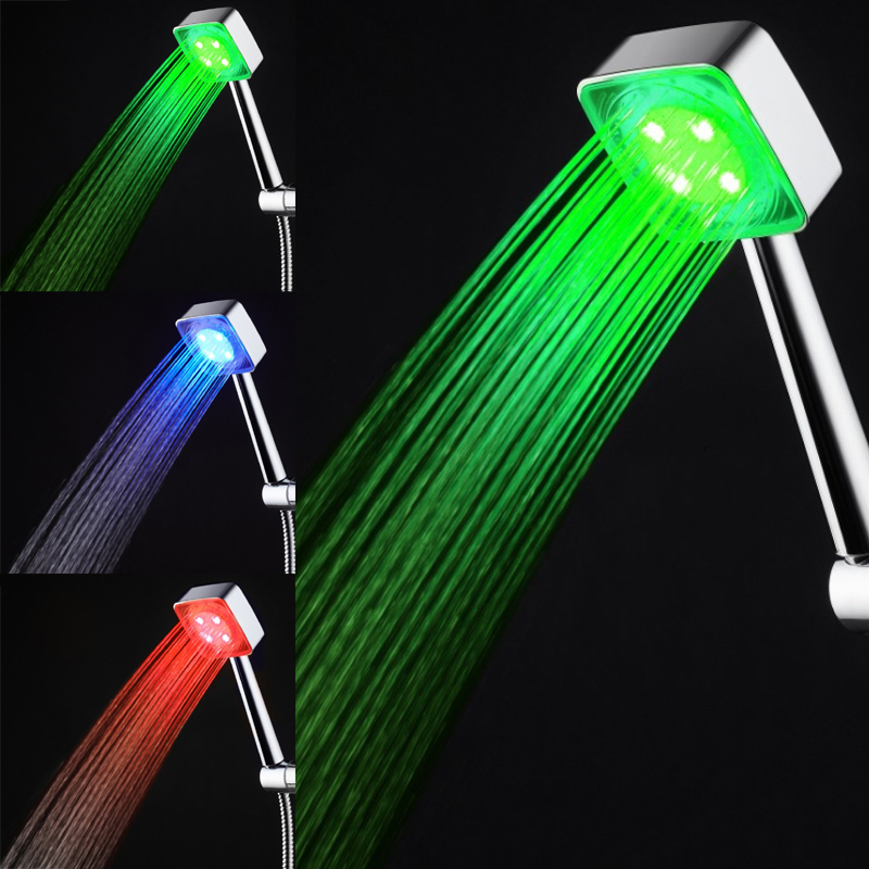 Colorful Led Shower Head 7-color Changing Shower Head No Battery Led Waterfall Shower Head Round Bathroom Accessories Showerhead Exquisite Traditional Embroidery Art Bathroom Fixtures Shower Heads