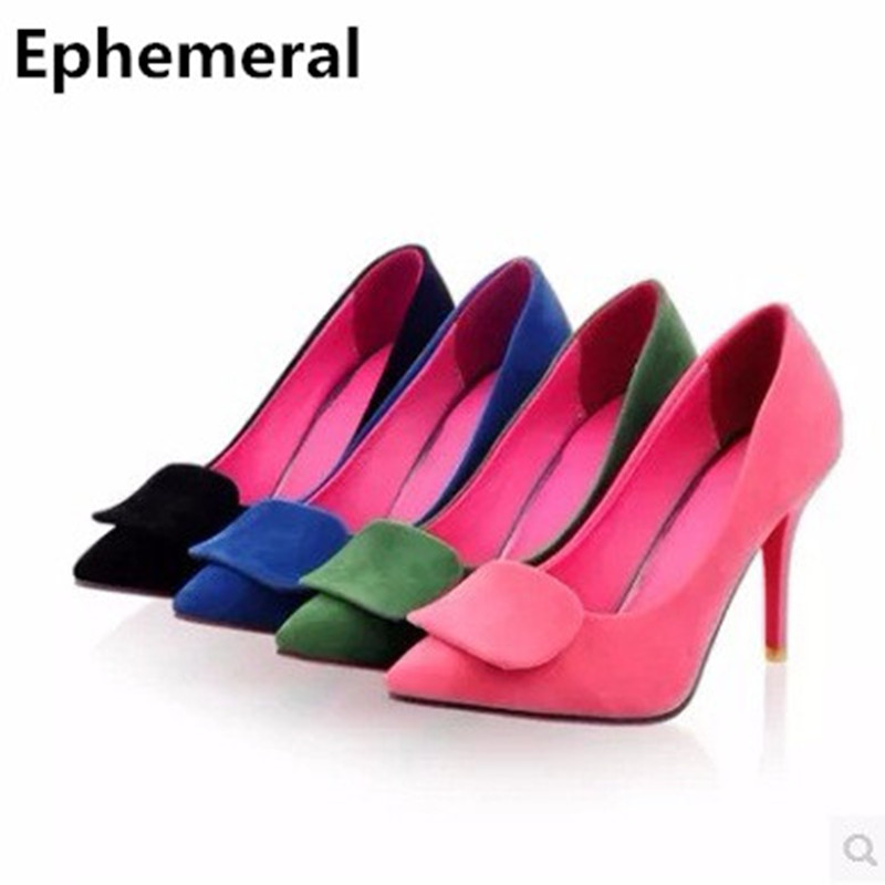 Lady sexy big size 10 11 12 nubuck leather pointed toe thin high heels shoes sandals women pumps green black blue zapatos mujer
