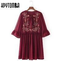 Vintage Floral Embroidery Tie Bow Chiffon Dress Women 2017 New Fashion O Neck Half Sleeve Mini