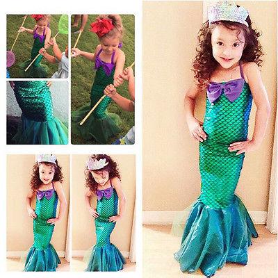 Summer Girls Dress The Little Mermaid Tail Princess Ariel Dress Cosplay Beach Swimsuit Costume For Girl Fancy Halloween Dress Soft And Antislippery Mother & Kids