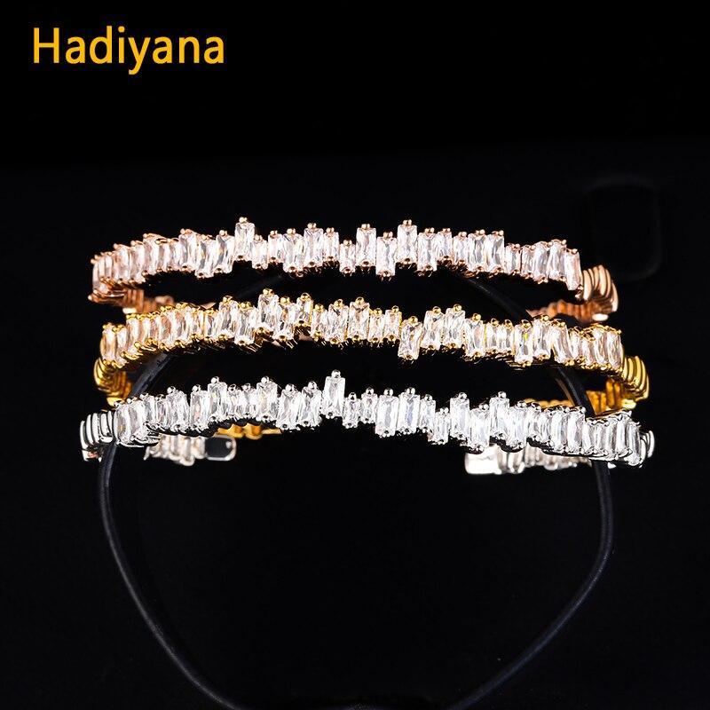 Hadiyana New T Cubic Zirconia Screw Bangle Beautiful Engagement Micro Pave Jewelry Bracelets Bangles Gift Style For Women SZ040 new style bracelets mens 10mm micro pave black cz square beads bracelets