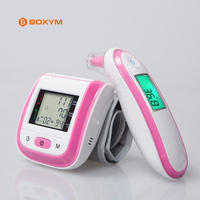 BOXYM Digital Wrist Blood Pressure Monitor Automatic Sphygmomanometer Infrared Ear Thermometer Tonometer Fever Alarm