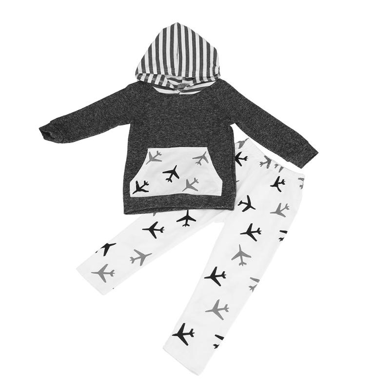 2pcs/Set Boys Clothes Set Plane Printed Splicing Color Hooded Top+Pants Toddler Long Sle ...