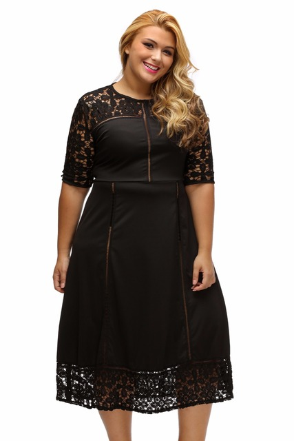 Zipper Back XL-3XL Plus Size Dress Big Women Black Floral Lace Splice Curvy  Dress Half Sleeve Little Black autumn winter Dress 74cca38a1bff