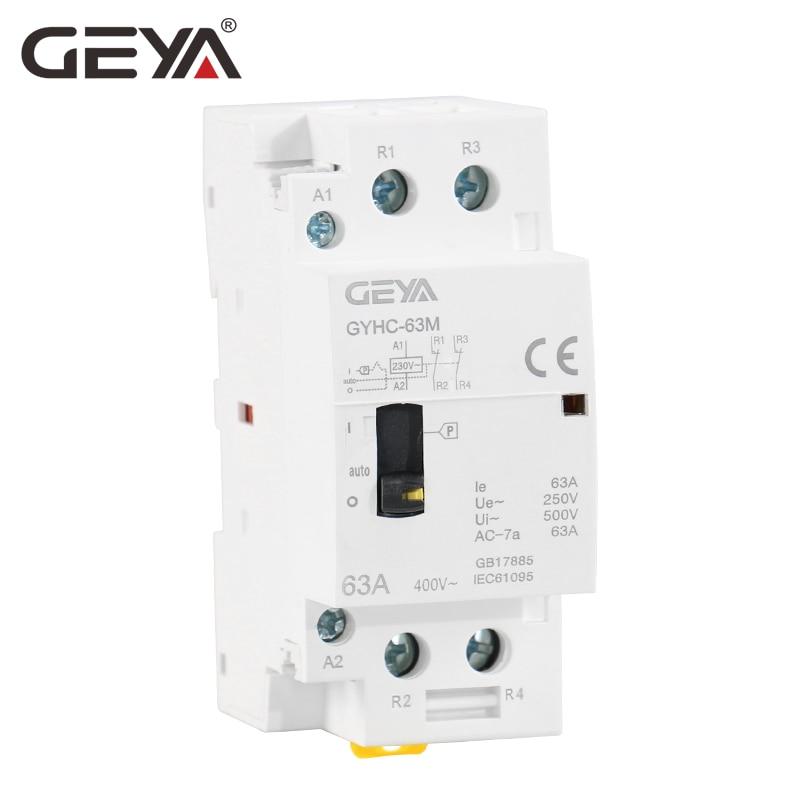 GEYA GYHC 2 p 40A 63A 2NO OU 2NC Ménage Modulaire Montage Sur Rail DIN AC Contacteur AC220V 230 v Manuel contrôle