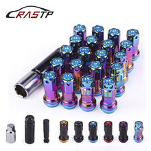 RASTP-20pcs/set M12x1.5/1.25 R40 Style 44mm Wheel Lug Nuts Racing Composite Lock Lug Nuts with Security Key RS-LN046 new style for rays wheel nuts iron racing official lug nuts 20pcs lock racing lug nuts wheel screw nuts for honda subaru nissna