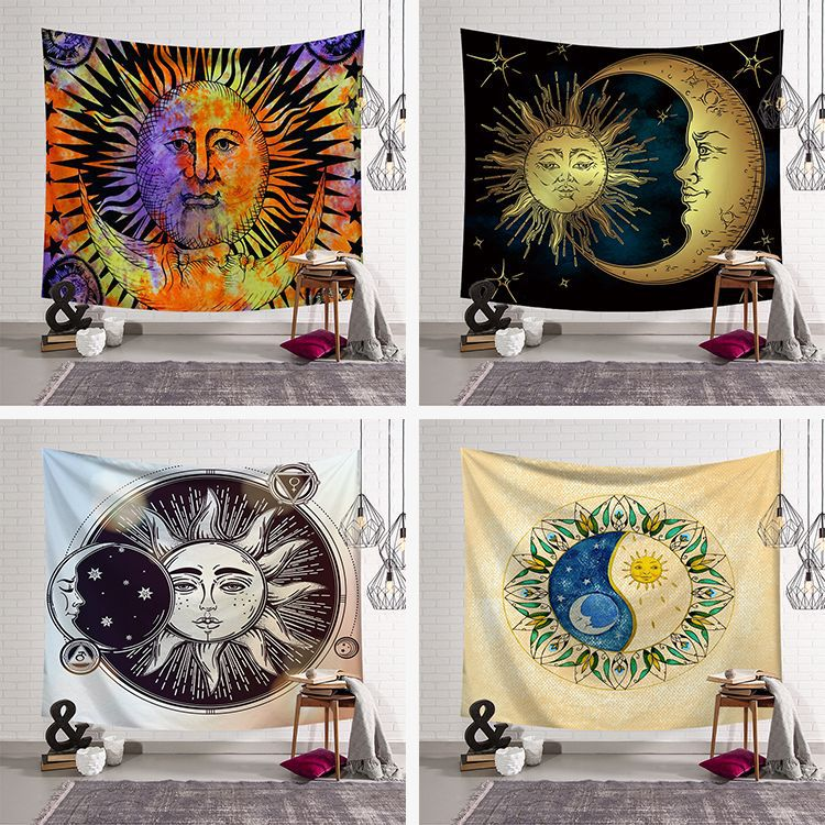 Rectangle Black and White Sun Moon Tapestry Psychedelic Celestial Indian Sun Hippie Hippy Tapestry Wall Hanging Throw Bedspread