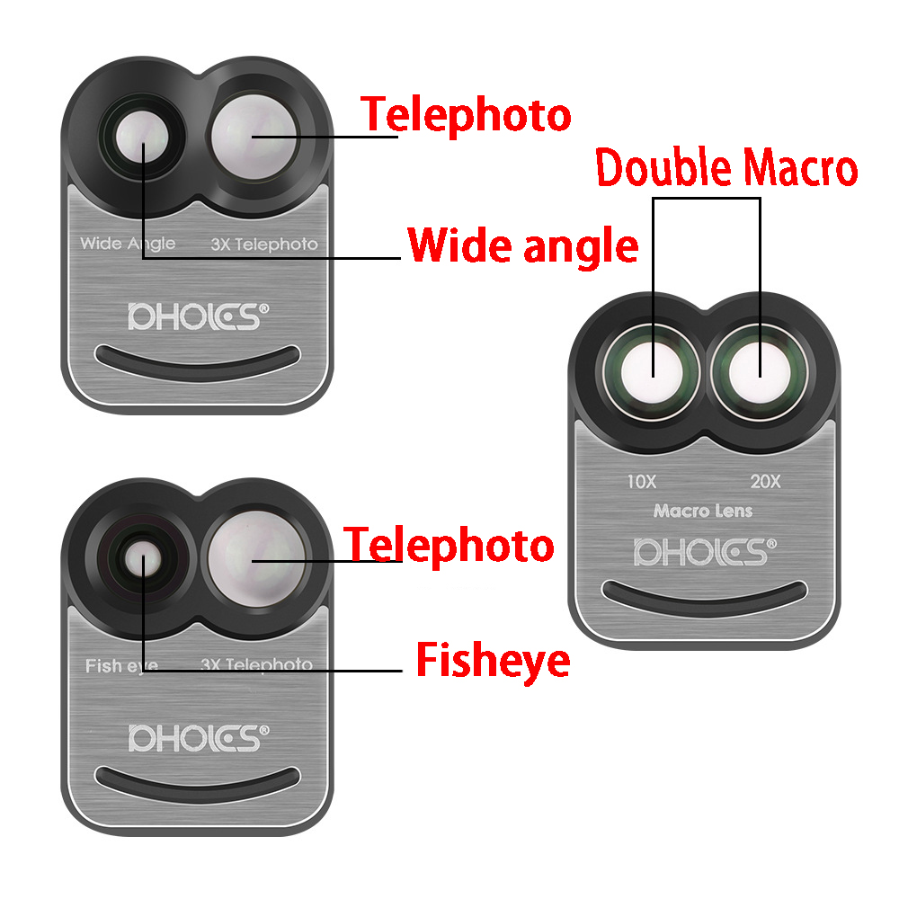 PHOLES Dual Camera Telescope Lens Fisheye Lens Wide Angle Lens For Apple iPhone 8Plus / 7Plus+Phone Case Cover 3