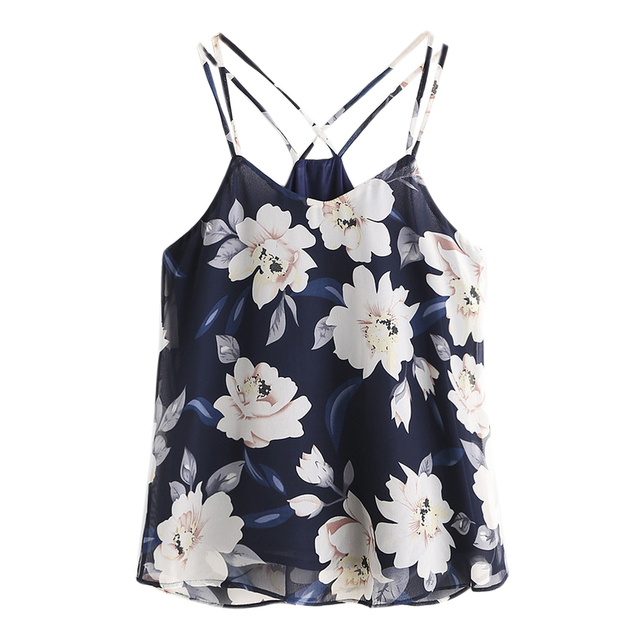 IMC Women's Summer Sexy Flowers Printed Short Camisole Vest Chiffon Boho Beach Tank Tops (Navy Blue, S)
