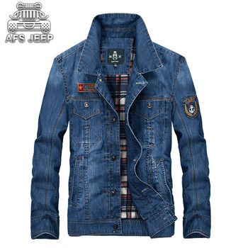 European Style Men Jackets Denim Jeans Casual Coats For Spring and Autumn Brand Original AFS Jeep Clothing warm Size M-4XL