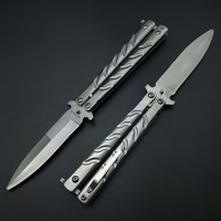 Butterfly in knife Slivery / Black Titanium No Sharp Gaming Personalized Player CS GO  Beginner  Children  100% Safety