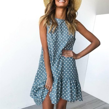Wave Point Dress Ruffle Women 2020 Spring Summer Street Casual Slim Thin Beach Party O Neck Mini Polka Dot Dress 1