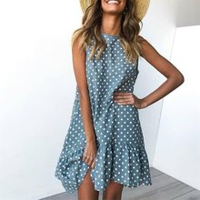 Wave Point Dress Ruffle Women 2019 Spring Summer New Fashion Street Sexy Casual Slim Thin Beach Party O Neck Mini Dress Vestidos(China)