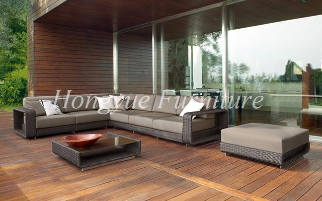 Muebles de jardín de ratán sofá de la esquina en forma de L al aire libre