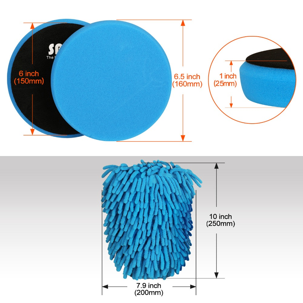 Microfiber Glove and Cleaning Cloth for 6inch SPTA Polishing Pads 6.5//160mm Compound Buffing Sponge Pads 150mm Car Buffer Polisher Polishing 8Pcs Buffing Pad Kit with 100/% Wool Buffing Pad