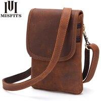 MISFITS Genuine Leather Men Waist Pack Travel Belt Bag Cowhide Functional Messenger Bag Vintage Belt Loop