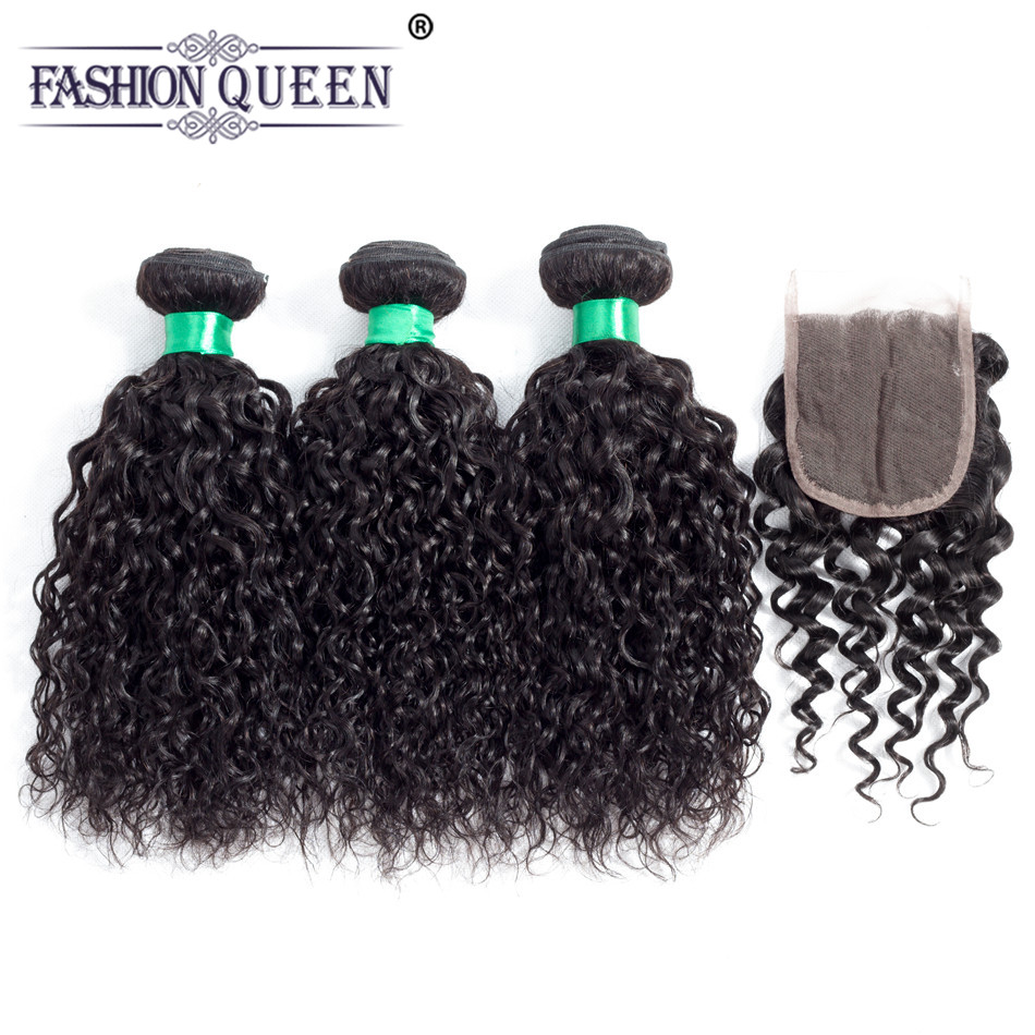 Fashion Queen Peruvian Water Wave Human Hair Bundles With Lace Closure 4Pcs/Lot Natural Black Color Curly Human Hair Weave