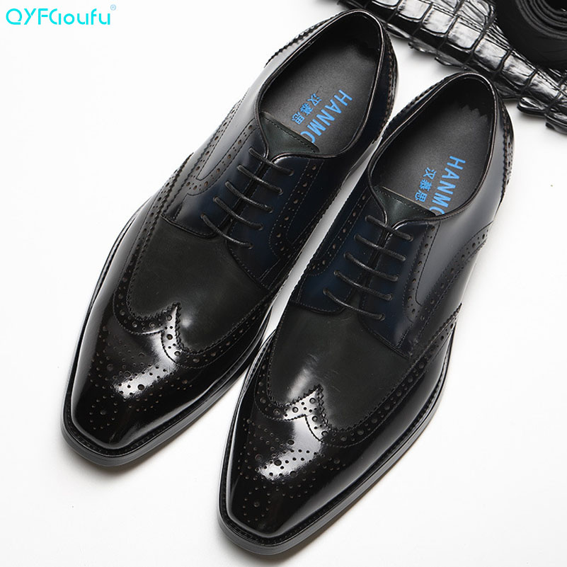 QYFCIOUFU Genuine Leather Lace Up Shoes Men Formal Vintage Elegant Luxury Brand Brogue Wedding Dress