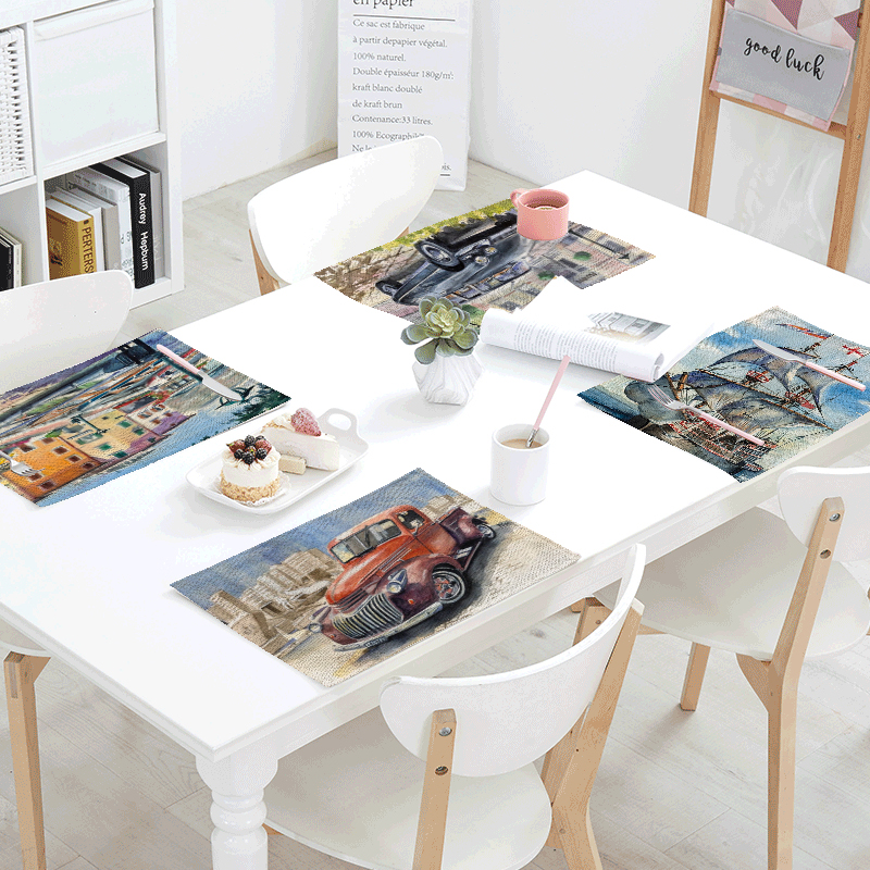 Popular Retro Car Table Napkins For Wedding Printed Kitchen Decoration Tea Towel Coffee  ...