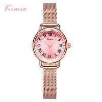 KIMIO Retro Woman Bracelet Watches Vintage Stainless Steel Mesh Band Ladies Watch White Dress Wristwatch For