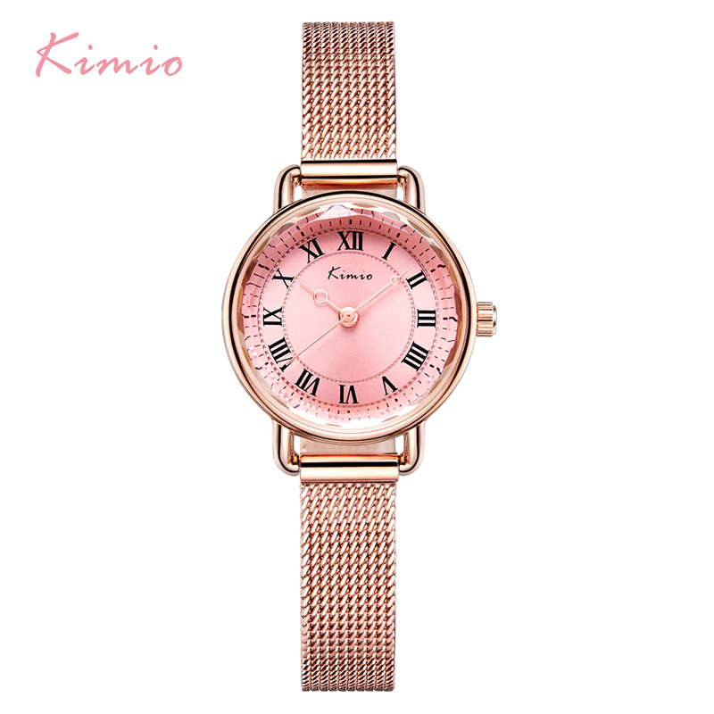 KIMIO Retro Woman Bracelet Watches Vintage Stainless Steel Mesh Band Ladies Watch White Dress Wristwatch For Women With Box skone fashion simple watches for women lady quartz wristwatch stainless steel band watch for woman relogio femininos