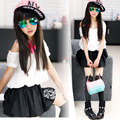 Retail Teenage Girls Off Shoulder Dress Kids Girls Dresses Summer 2015 Tutu Patched Dress Summer Style Black Pink & White