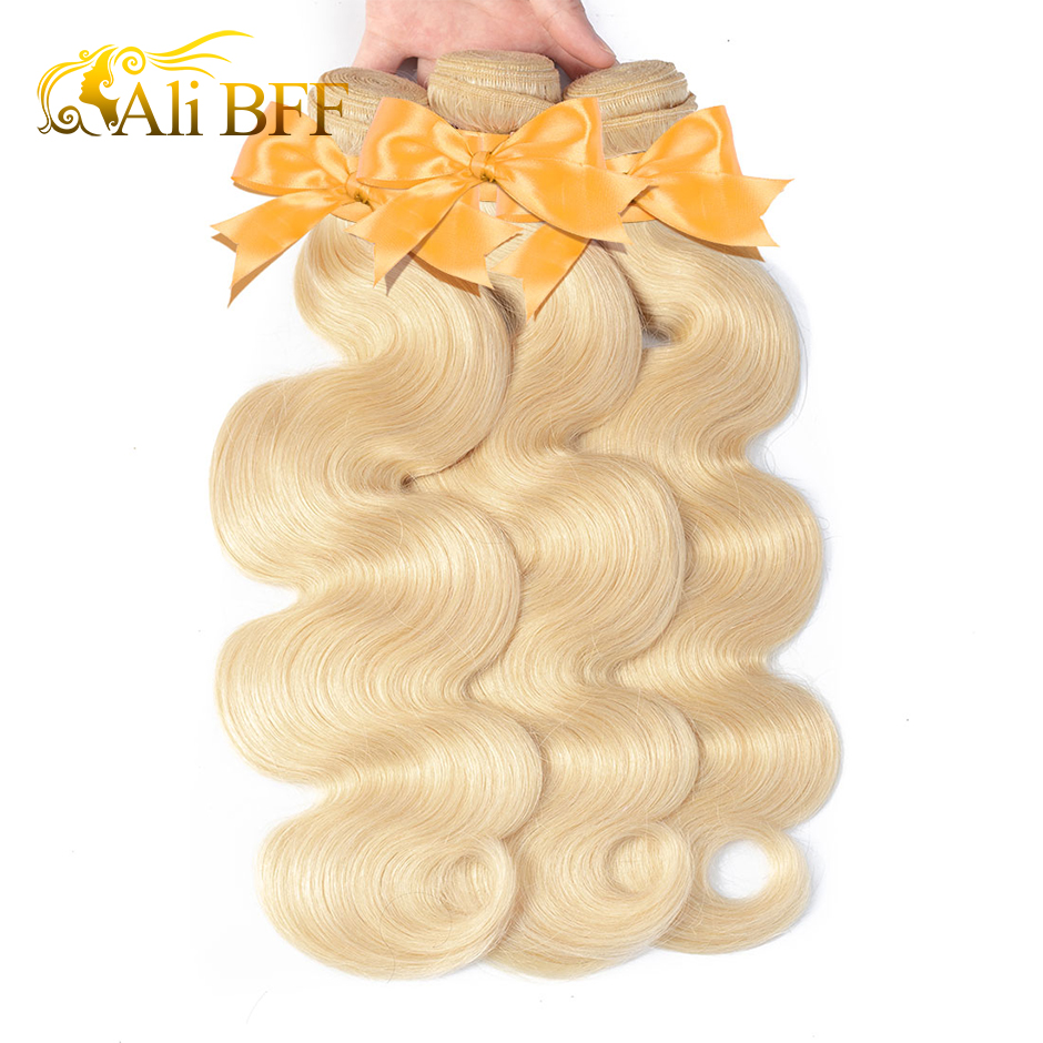 ALI BFF 1/3/4 613 Blonde Hair Extensions Brazilian Hair Weave <font><b>Bundles</b></font> Body Wave Remy Human Hair <font><b>22</b></font> 24 26 <font><b>inch</b></font> image