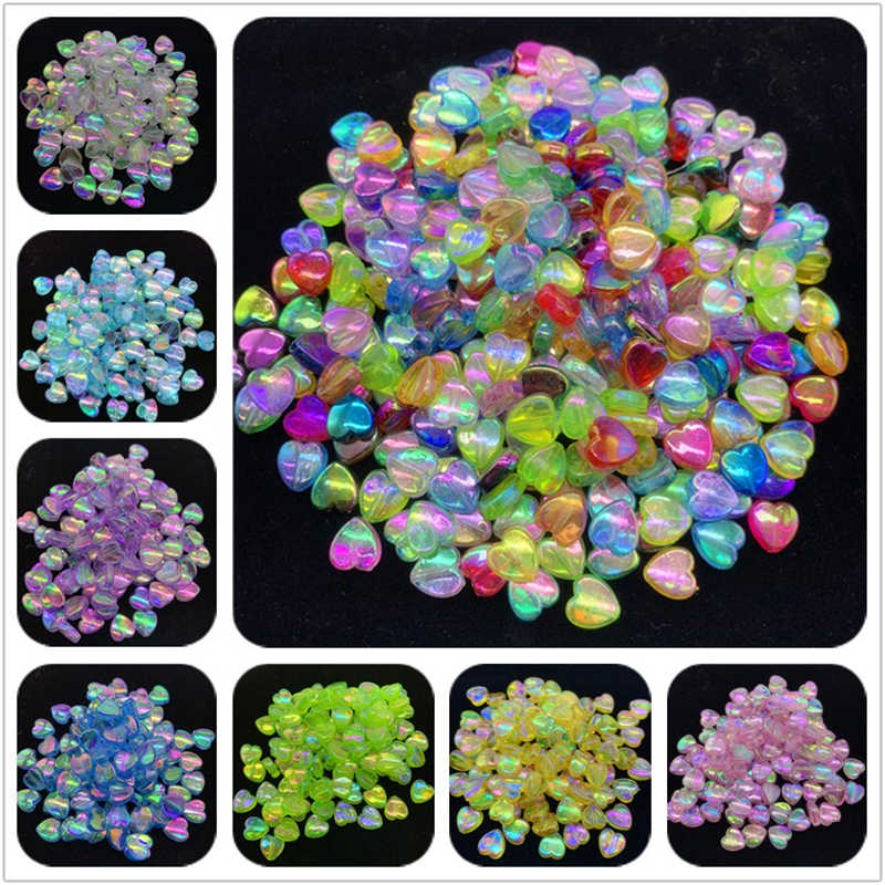 100 Pcs/lot 8 Mm Acrylic Spacer Beads Bentuk Hati Transparan Warna Pelangi Beads untuk Perhiasan Membuat DIY Gelang