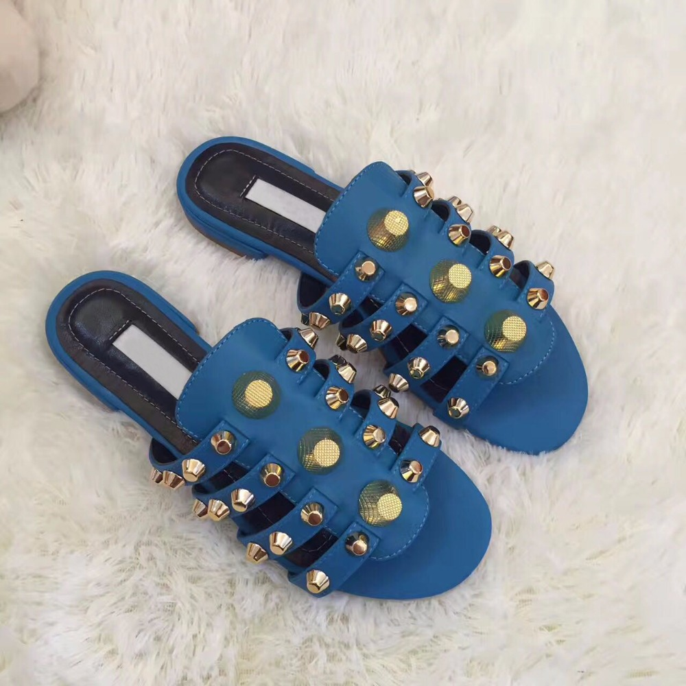 Fashion Blue Smooth Leather Women Leather Straps Flat Sandals Golden Studs Ladies Slip On Slippers Summer Hot Dress ShoesFashion Blue Smooth Leather Women Leather Straps Flat Sandals Golden Studs Ladies Slip On Slippers Summer Hot Dress Shoes
