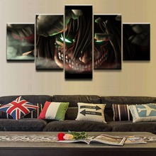 Canvas Wall Art Pictures For Bedroom Decor 5 Pieces Animation Attack on Titan  Eren Yeager Painting HD Prints Poster Framework