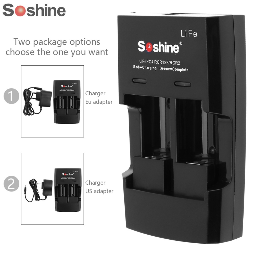 5pcs Design Soshine Li-FePO4 RCR 123 / CR2 Battery Intelligent Rapid Charger ...