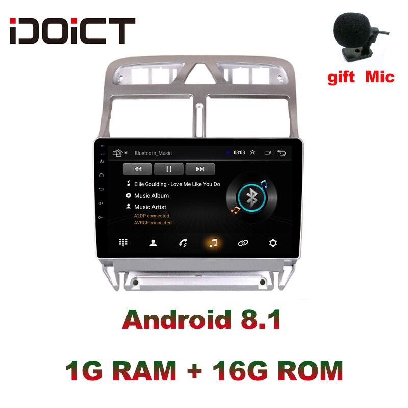 2.5D IDOICT Android 8.1 Car DVD Player GPS de Navegação Multimídia Para peugeot 307 307CC 307SW 2002-2013 Rádio do carro fone de ouvido estéreo