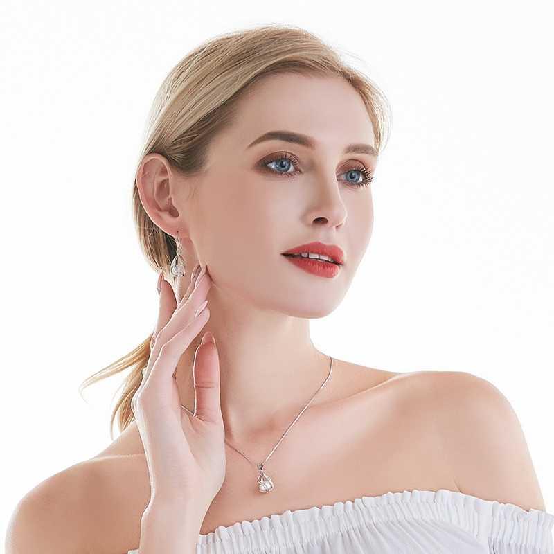 ไข่มุกน้ำจืด Pearl Drop ต่างหูผู้หญิง Elegant 925 เงินสเตอร์ลิง Anti allergy ต่างหูกรง DIY เครื่องประดับ 2019 cauuev
