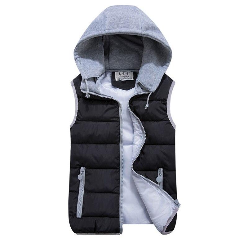 2018 women autumn winter vest pink black warm cotton wadded hooded with zipper waistcoat plus size 3XL casual short jacket
