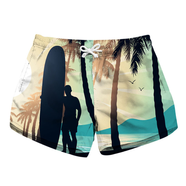 ba6bf90a54 Coconut Tree Summer Shorts Women Short Scanties Woman Beach Floral Print  Summer Casual Shorts Trunks Sunshine Sea Landscape