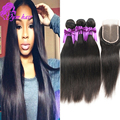 10A Peruvian Straight Hair With Closure Unprocessed Peruvian Virgin Hair With Closure Straight Hair 4 Bundles With Lace Closure